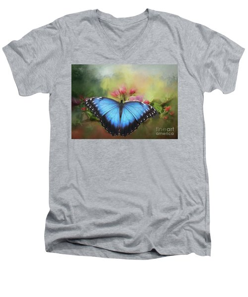 Blue Morpho On A Blossom Men's V-Neck T-Shirt by Eva Lechner