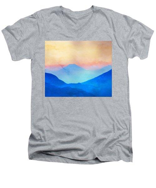 Blue Mountains Watercolour Men's V-Neck T-Shirt