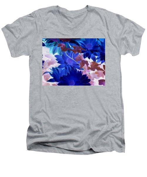 Blue Mums With Purple Ivy Men's V-Neck T-Shirt