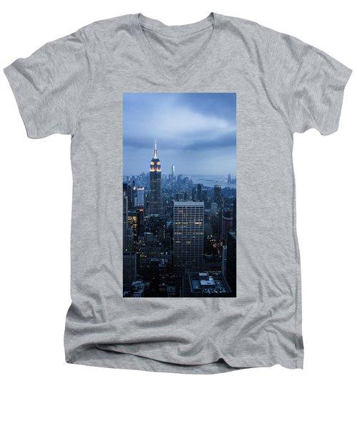 Blue New York Men's V-Neck T-Shirt