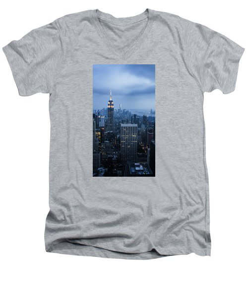 Blue New York Men's V-Neck T-Shirt