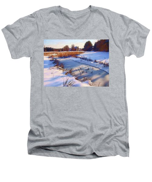 Blue Noon Men's V-Neck T-Shirt by Betsy Zimmerli