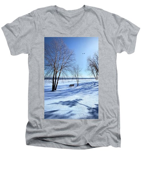 Men's V-Neck T-Shirt featuring the photograph Blue On Blue by Phil Koch