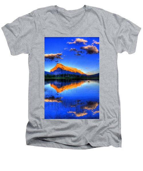 Men's V-Neck T-Shirt featuring the photograph Blue Orange Mountain by Test Testerton