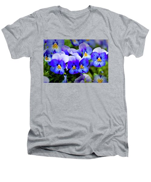 Men's V-Neck T-Shirt featuring the photograph Blue Pansies by Tamyra Ayles