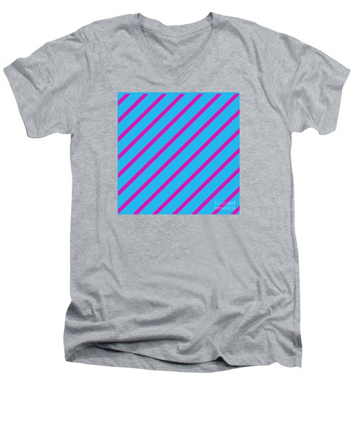Blue Pink Angled Stripes Abstract Men's V-Neck T-Shirt