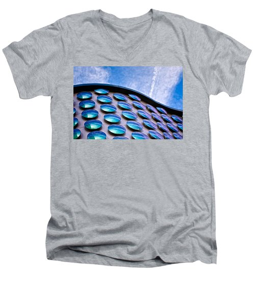 Blue Polka-dot Wave Men's V-Neck T-Shirt