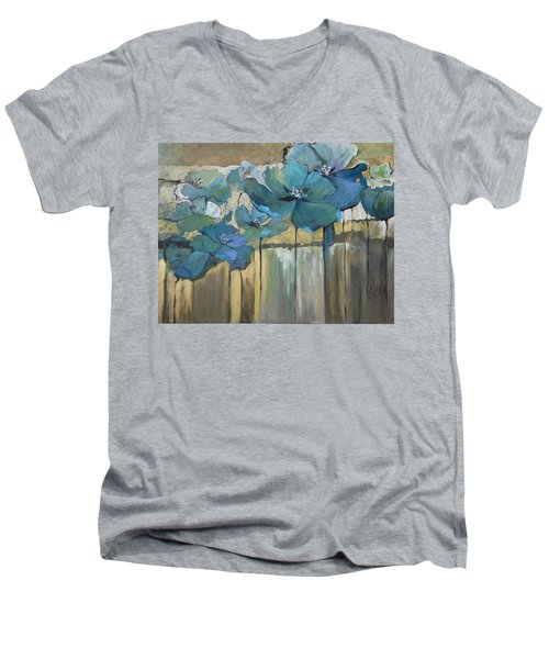 Men's V-Neck T-Shirt featuring the painting Blue Poppies by Eleatta Diver