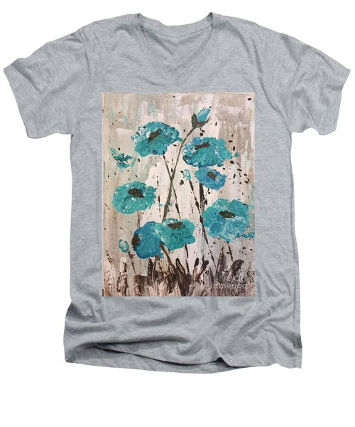 Blue Poppies Men's V-Neck T-Shirt by Lucia Grilletto