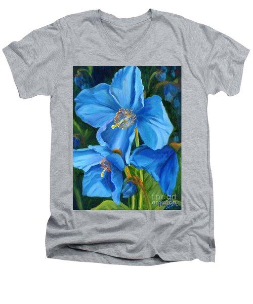 Blue Poppy Men's V-Neck T-Shirt by Renate Nadi Wesley