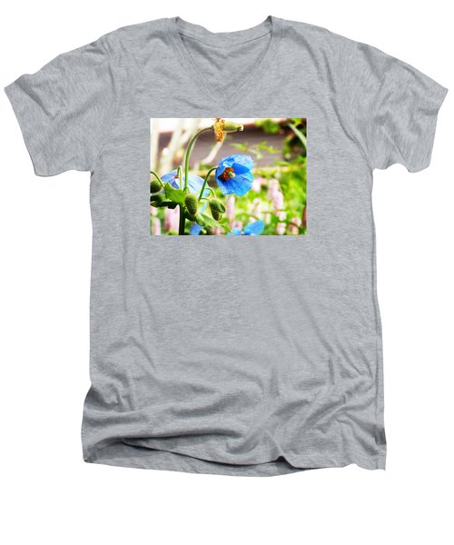 Men's V-Neck T-Shirt featuring the photograph Blue Poppy by Zinvolle Art
