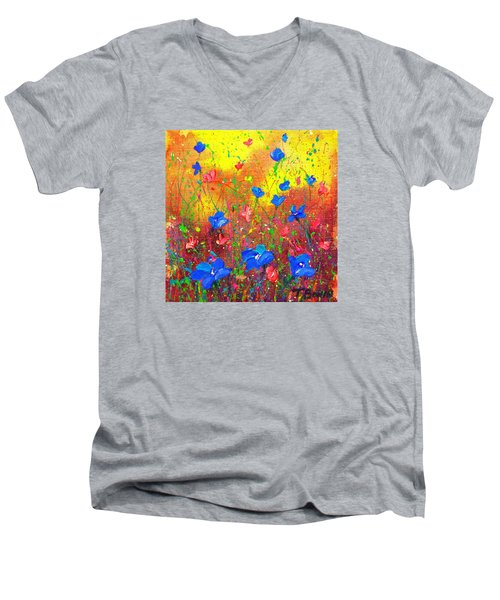 Blue Posies Men's V-Neck T-Shirt by Tracy Bonin
