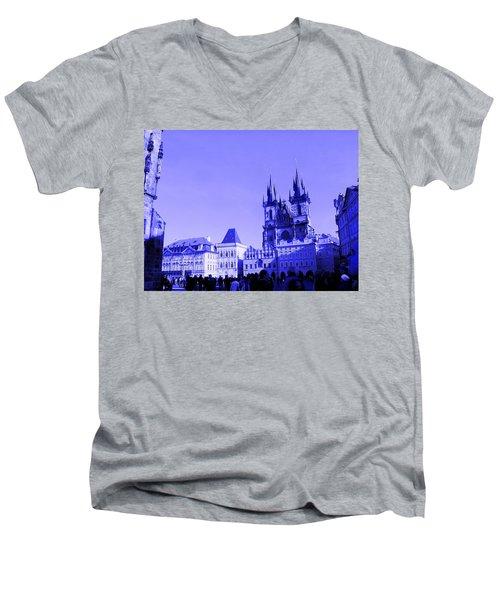 Blue Praha Men's V-Neck T-Shirt