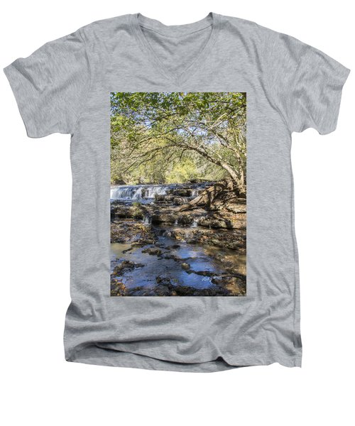 Blue Puddle Falls Men's V-Neck T-Shirt