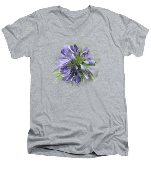Blue Purple Flowers Men's V-Neck T-Shirt
