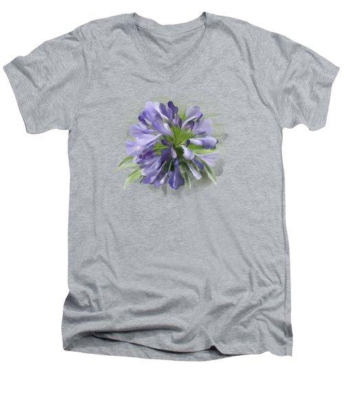Blue Purple Flowers Men's V-Neck T-Shirt