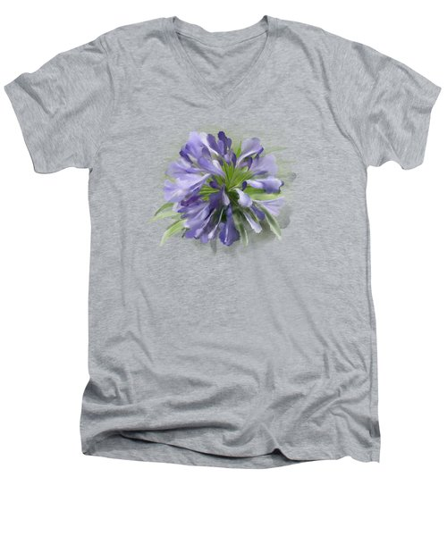 Men's V-Neck T-Shirt featuring the painting Blue Purple Flowers by Ivana Westin