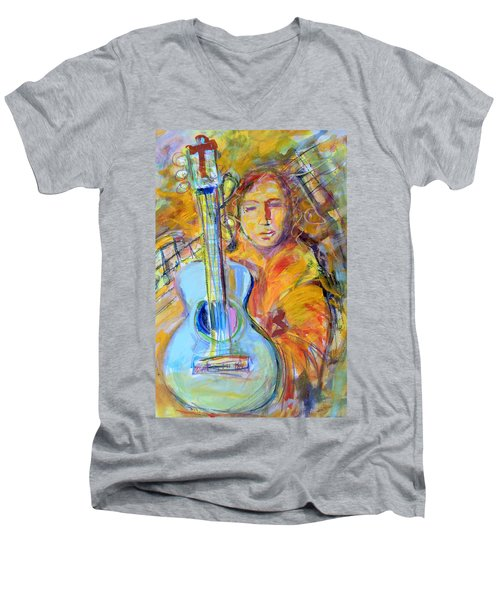Men's V-Neck T-Shirt featuring the painting Blue Quitar by Mary Schiros