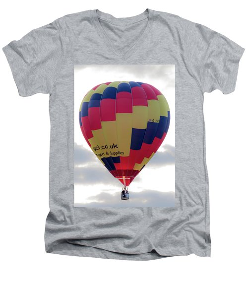 Blue, Red And Yellow Hot Air Balloon Men's V-Neck T-Shirt