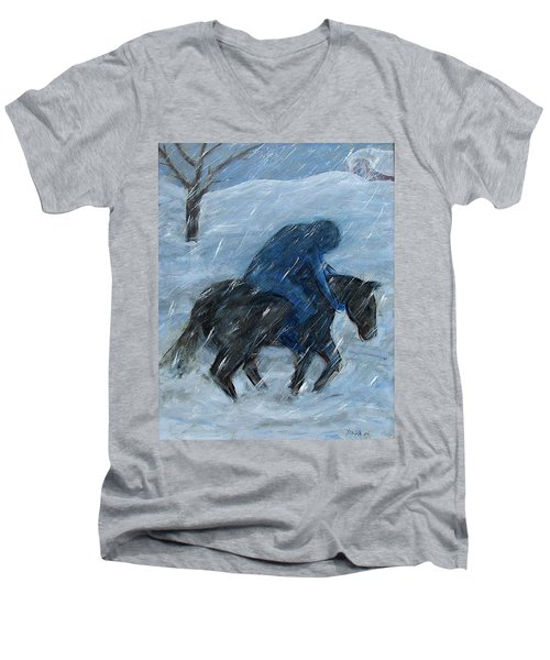 Blue Rider On Horse Men's V-Neck T-Shirt