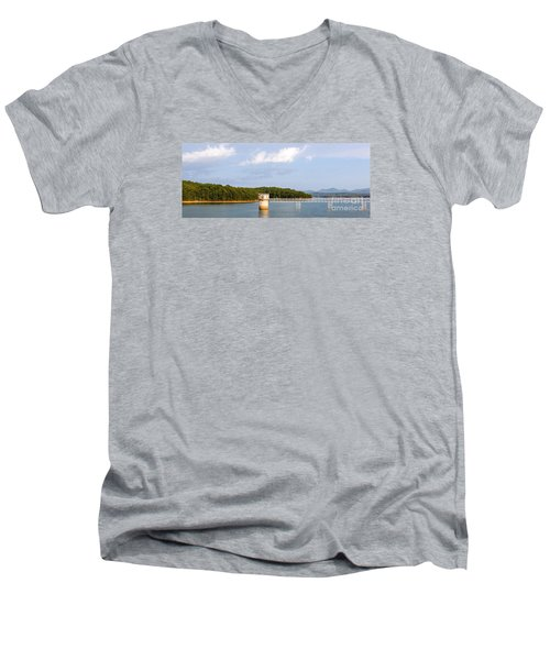Men's V-Neck T-Shirt featuring the photograph Blue Ridge Dam by Michael Waters
