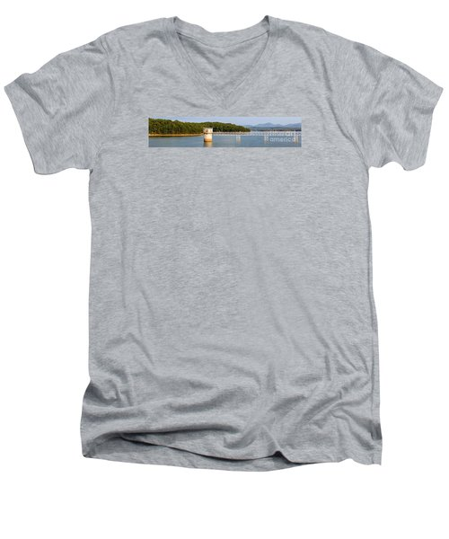 Men's V-Neck T-Shirt featuring the photograph Blue Ridge Dam - Panoramic by Michael Waters