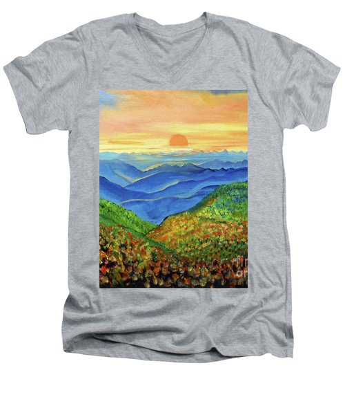 Men's V-Neck T-Shirt featuring the painting Blue Ridge Mountain Morn by Ecinja Art Works
