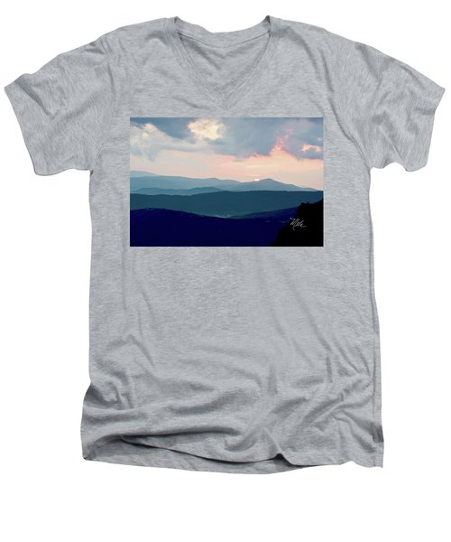 Blue Ridge Mountain Sunset Men's V-Neck T-Shirt