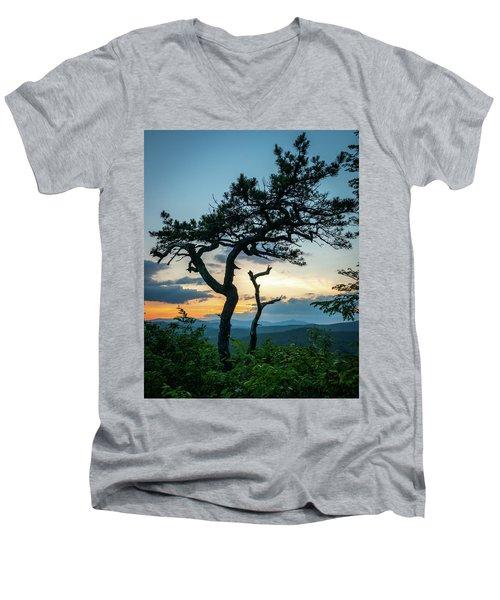 Blue Ridge Mountains Dr. Tree Men's V-Neck T-Shirt
