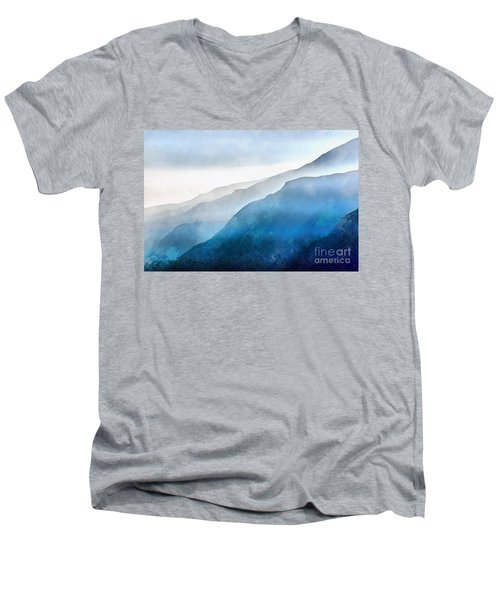 Men's V-Neck T-Shirt featuring the painting Blue Ridge Mountians by Edward Fielding