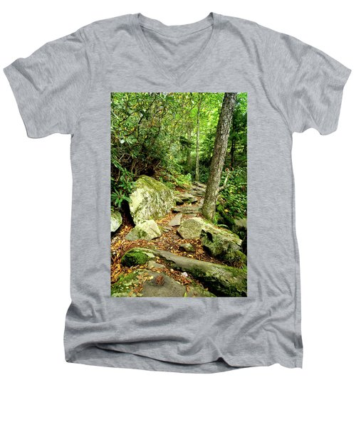 Men's V-Neck T-Shirt featuring the photograph Blue Ridge Parkway Hiking Trail by Meta Gatschenberger