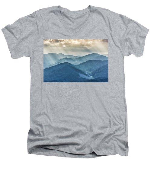 Blue Ridge Sunset Rays Men's V-Neck T-Shirt