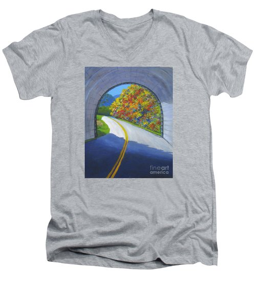 Blue Ridge Tunnel Men's V-Neck T-Shirt by Anne Marie Brown