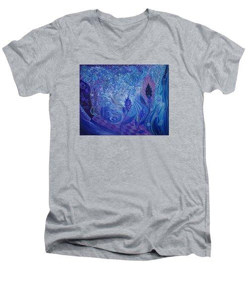Blue Rosebud Ballroom Men's V-Neck T-Shirt