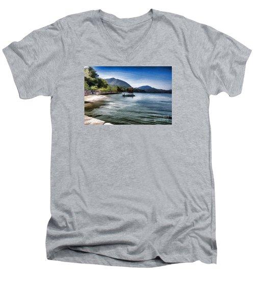 Blue Sea Men's V-Neck T-Shirt by Pravine Chester
