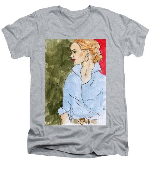 Blue Shirt Men's V-Neck T-Shirt by P J Lewis