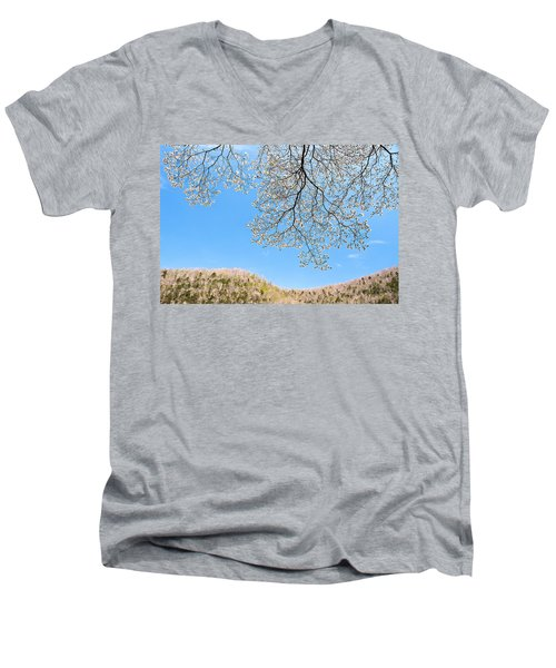 Men's V-Neck T-Shirt featuring the photograph Blue Skies And Dogwood by Tamyra Ayles