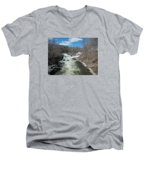 Blue Skies Over The Housatonic River Men's V-Neck T-Shirt by Catherine Gagne