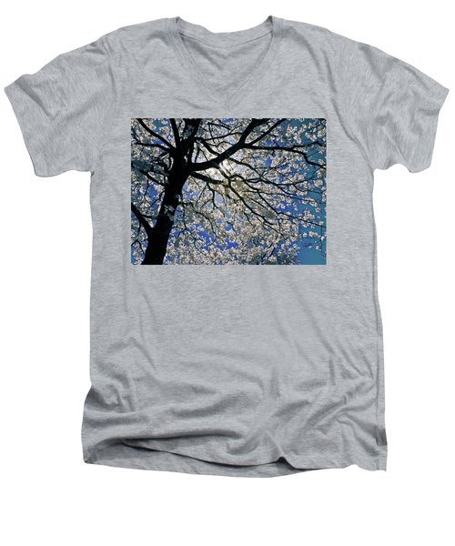Men's V-Neck T-Shirt featuring the photograph Blue Skies Smiling At Me by Linda Unger