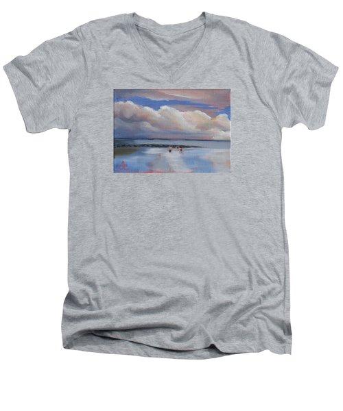 Blue Sky And Clouds I Men's V-Neck T-Shirt by Trina Teele