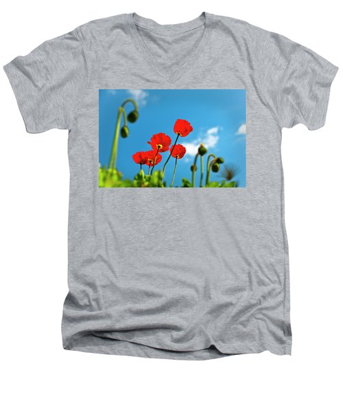 Men's V-Neck T-Shirt featuring the photograph Blue Sky And Poppies by Tamyra Ayles