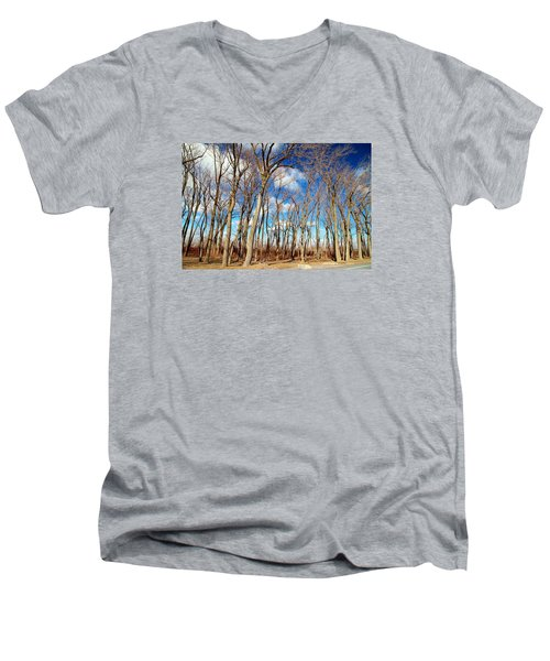 Men's V-Neck T-Shirt featuring the photograph Blue Sky And Trees by Valentino Visentini