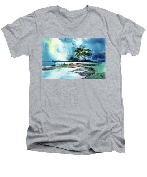 Men's V-Neck T-Shirt featuring the painting Blue Sky by Anil Nene