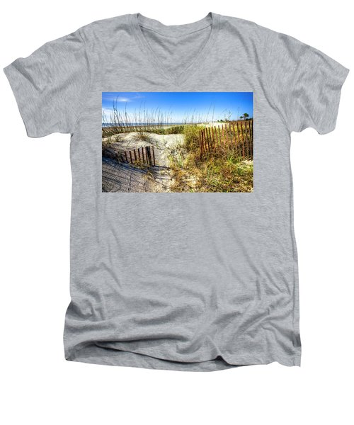 Men's V-Neck T-Shirt featuring the photograph Blue Sky Dunes by Debra and Dave Vanderlaan