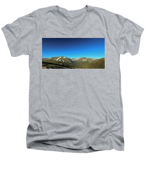 Blue Skys Over The Rockies Men's V-Neck T-Shirt