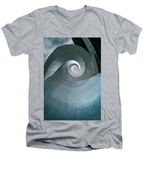 Men's V-Neck T-Shirt featuring the photograph Blue Spiral Stairs by Jaroslaw Blaminsky