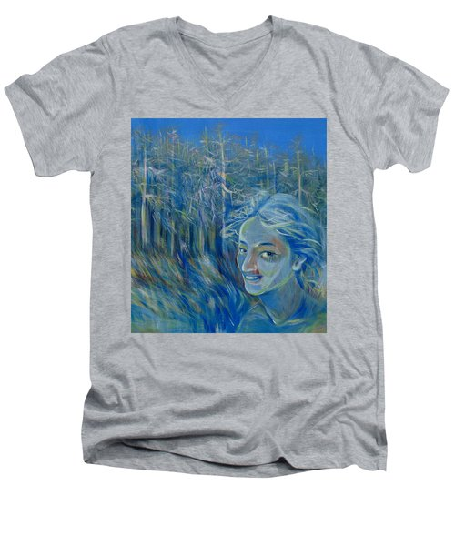 Blue Spring Men's V-Neck T-Shirt by Anna  Duyunova