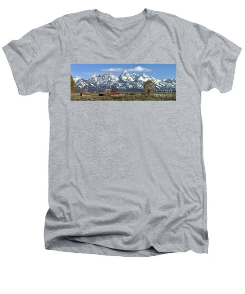 Blue Spring Skies Over Mormon Row Men's V-Neck T-Shirt by Adam Jewell
