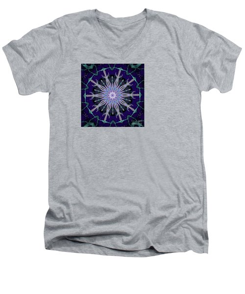 Men's V-Neck T-Shirt featuring the photograph Blue Star by Shirley Moravec