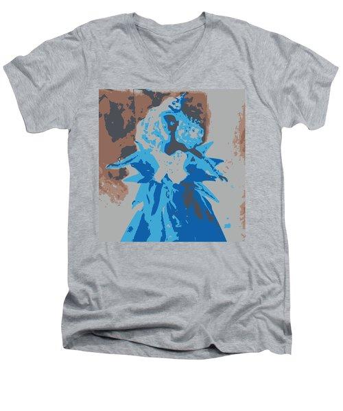 Blue Sunflower Barbie Men's V-Neck T-Shirt by Karen J Shine
